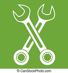korsat, grön, skruvnycklar, ikon