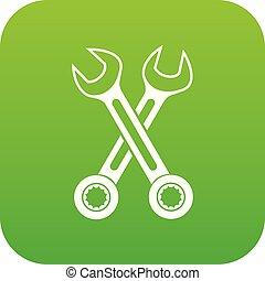 korsat, ikon, grön, skruvnycklar, digital