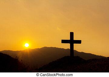 korsfästelse, av, jesus, christ., kors, silhuett, på, den, fjäll, hos, solnedgång