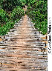 korsning, Bro, bambu, flod
