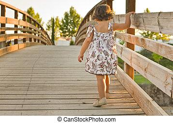 korsning, den, trä bro