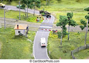 korsning, miniatyr, järnväg