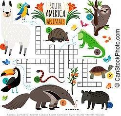 korsord, amerikan, djuren