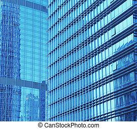 kortárs hivatal, épület, blue pohár, fal, részletez