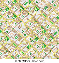 kort, byen, abstrakt, -, seamless, vektor, baggrund