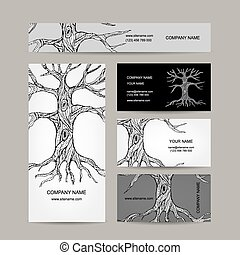 kort, design, träd, affär, roots.
