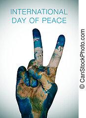 kort, (earth, furnished, nasa), fred, internationale, dag