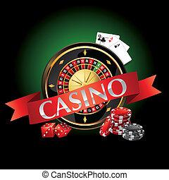 kort, elementara, kasino, roulett