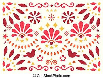 kort, fåglar, konst, mexico, mönster, inspirerat, hälsning, traditionell, vektor, design, röd, invitaion, apelsin, mexikanare, geometrisk, blomningen, eller, folk