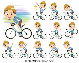 kort, fiets, hoedje, rijden, jas, man, breien, broek