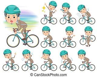 kort, fiets, rijden, haar, beige, kostuum, baard, man