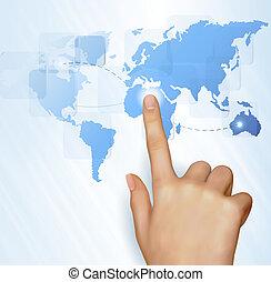 kort, finger, verden, røre