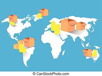 kort, firma, global handel, eksporter, import, verden