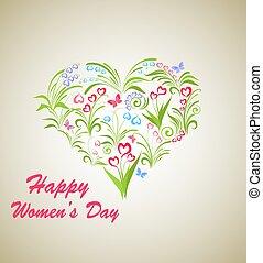 kort, fjäder, hjärta, women?s, form, internationell, dag, blomningen, bukett, mars, hälsning, 8