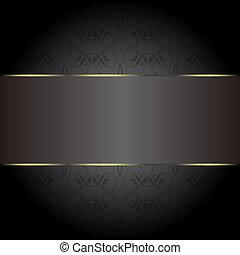kort, guld, på, den, black., affär, inbjudan, kort