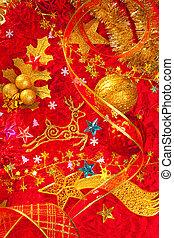 kort, guldgul fond, röd, jul