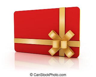 kort, gyllene, band, gåva, röd