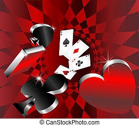 kort, hasardspel, ikonen, glänsande, metallisk