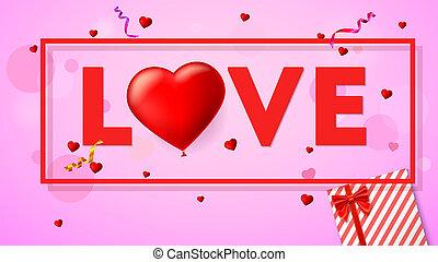 kort, hjärta, illustration., kärlek, glitter, bilda, uppblåsbar, vaxljus, topp, gåvan boxas, stort, scharlakansröd, typografi, konfetti, balloon., synhåll, komposition, röd, 3