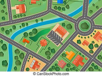 kort, i, forstad, landsby