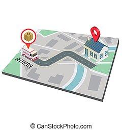 kort, image, fødsel, vektor, lastbil, baggrund, vej