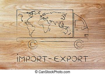 kort, import-export, udlevering lastbil, verden, konstruktion