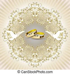 kort, inbjudan, bröllop