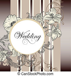 kort, inbjudan, bröllop, elegant