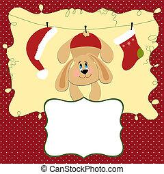 kort, jul, hälsningar, mall, tom