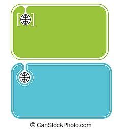 kort, klot, färgad, affär, ikon