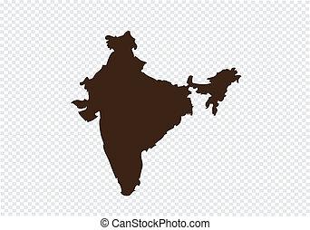 kort, konstruktion, indien, ide