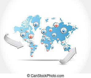kort, konstruktion, netværk, illustration, sociale