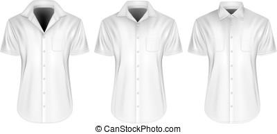 kort, kragen, mens, sleeved, overhemden, afsluiten, open