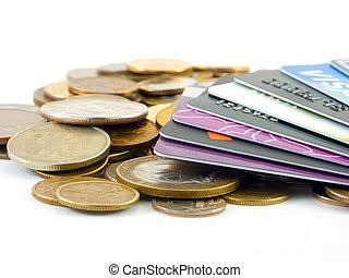 kort, kreditera, mynter, metall