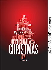 kort, krydda, abstrakt, jul, ord