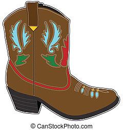 kort, laarzen, cowboy
