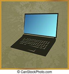 kort, laptop, ikon, sort, felt