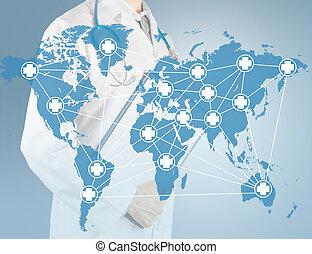 kort, medicinsk, netværk