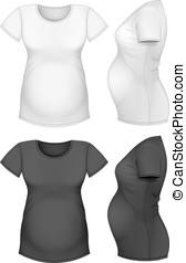 kort, moederschap, mouw, t-shirt.