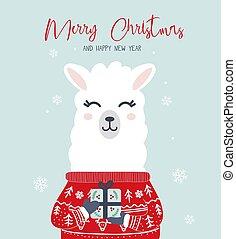 kort, munter, lycklig, år, färsk, jul, lama, hälsning