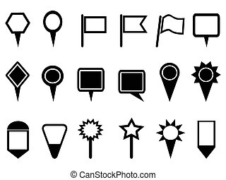 kort, navigation, pegepind, iconerne
