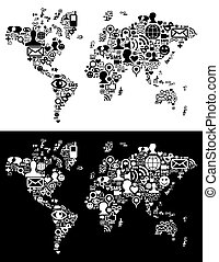 kort, netværk, figur, iconerne, medier, sociale, verden