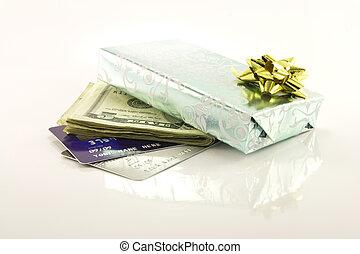 kort, pengar, gåva, kreditera