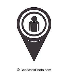 kort, person, pegepind, ikon