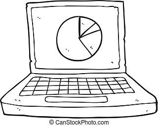 kort, pie, sort, cartoon, hvid, computer, laptop