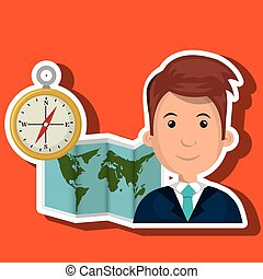kort, rejse, globale, mand, verden