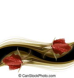 kort, ro, bröllop, röd, inbjudan, knopp
