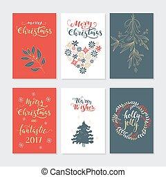 kort, sätta, jul