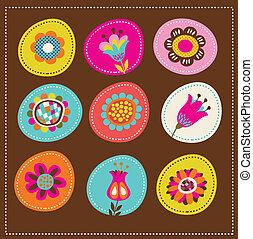 kort, söt, hälsning, kollektion, dekorativ, blomningen
