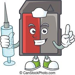 kort, smiley, sköta, injektionsspruta, tecken, tecknad film, minne
